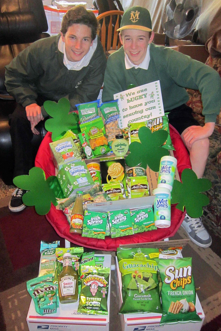 Neal Conners and Nicky Casalenuovo with St. Patrick's Day Supplies for Platoon 9